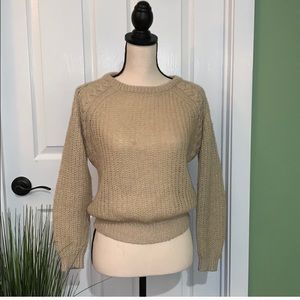 Urban Outfitters tan crew neck knit sweater